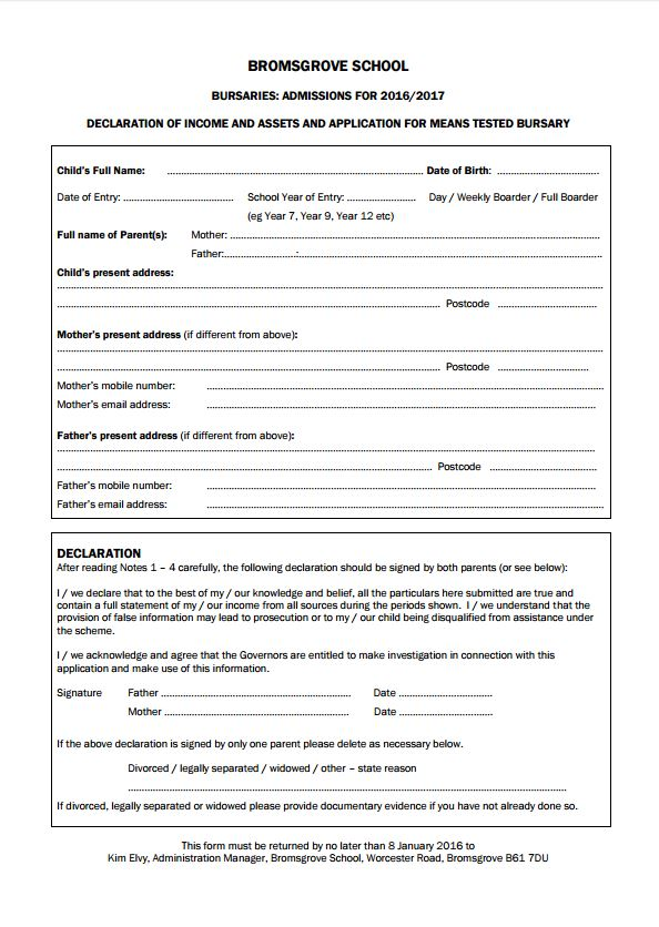 Admissions Forms
