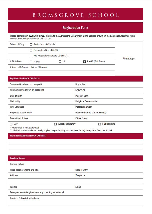Admissions Forms – Admission Form for School