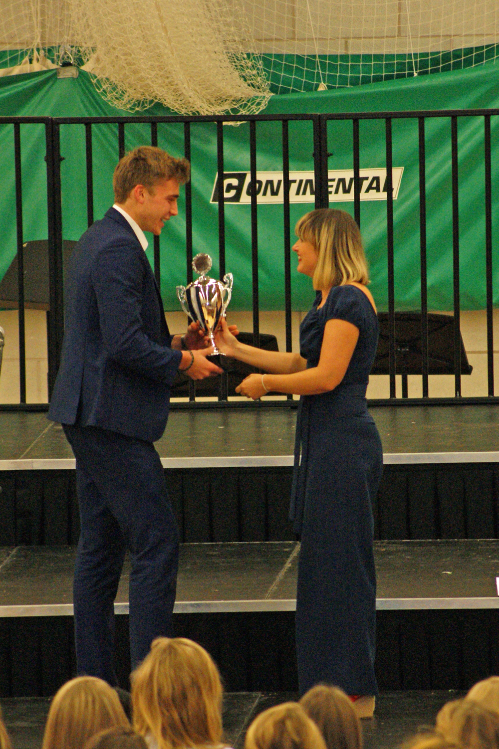 House Song 2014 - Adjudicator Olivia Safe awarding Lyttelton with the Winners Trophy