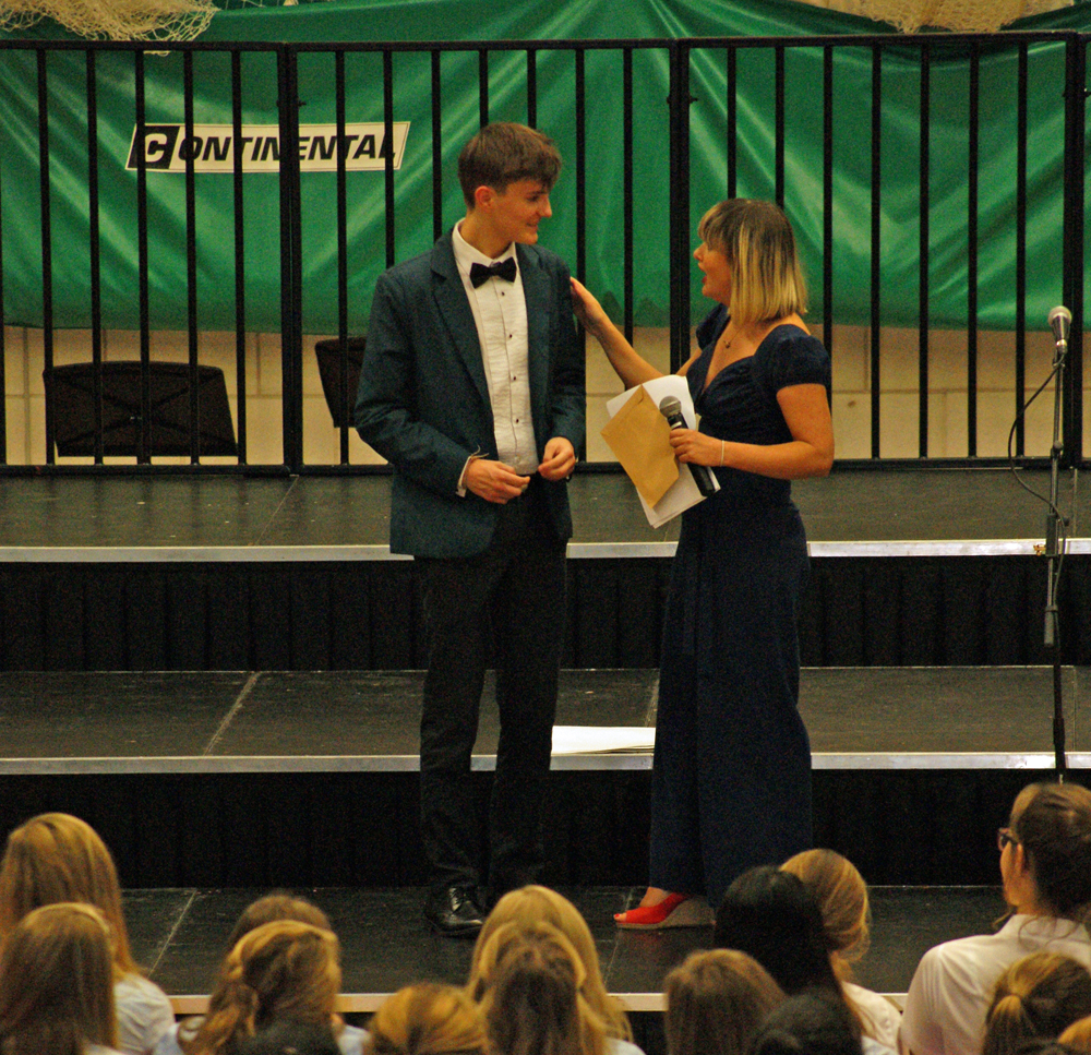 House Song 2014 - Adjudicator Olivia Safe awarding Sam (Walters House) with the 2014 Conductor's Prize