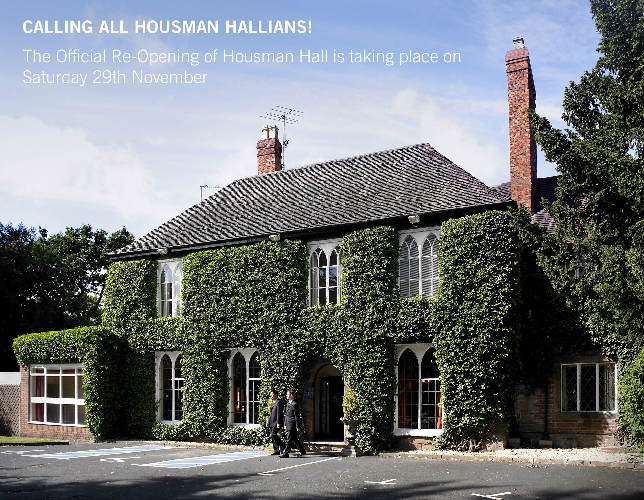 Former Pupils invited back to official Housman Hall re-opening on 29th November